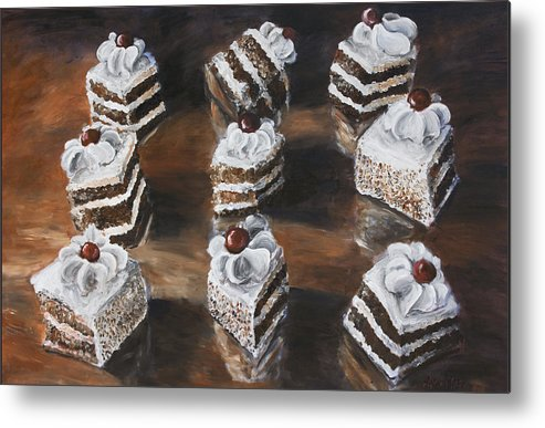 Cake Metal Print featuring the painting Cake by Nik Helbig