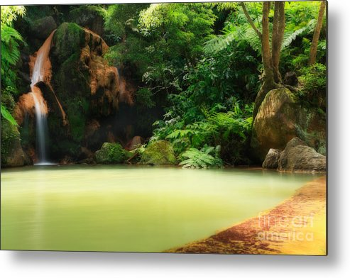 Azoren Metal Print featuring the photograph Caldeira Velha Thermal Pool by Gaspar Avila
