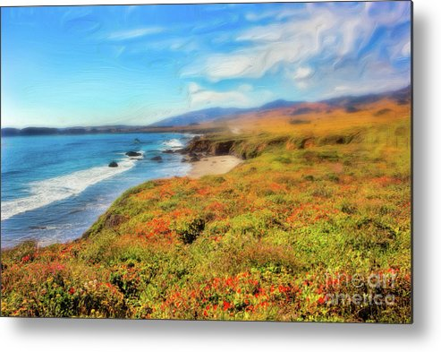 California Metal Print featuring the painting California Coast Wildflowers On Cliffs Ap by Dan Carmichael