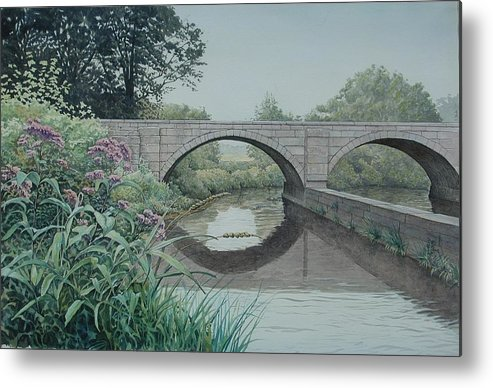 Landscape Metal Print featuring the painting Camillus Canal by Stephen Bluto