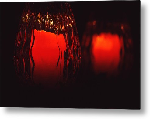 Still Life Metal Print featuring the photograph Candle Reflected by Barry Shaffer
