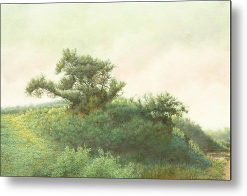 Landscape Metal Print featuring the painting Cape Cod Scrub by Stephen Bluto