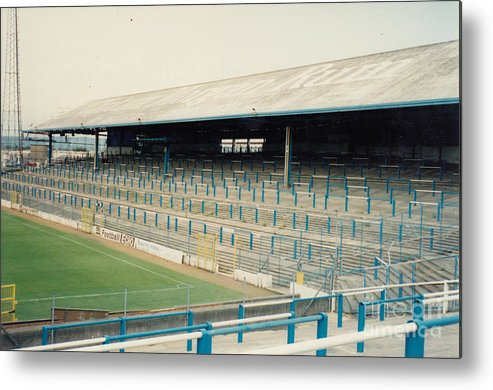 Cardiff City Metal Print featuring the photograph Cardiff - Ninian Park - East Stand Railway Side 2 - August 1991 by Legendary Football Grounds