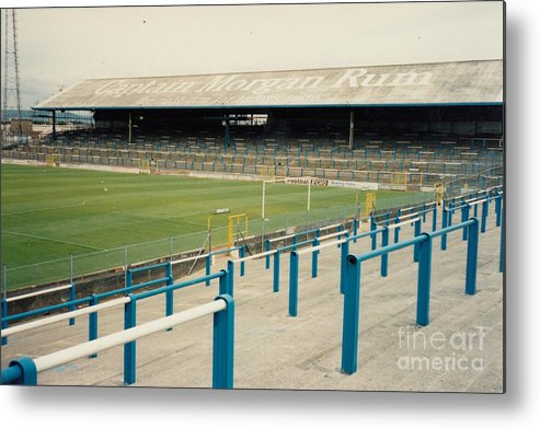 Cardiff City Metal Print featuring the photograph Cardiff - Ninian Park - East Stand Railway Side 3 - August 1991 by Legendary Football Grounds