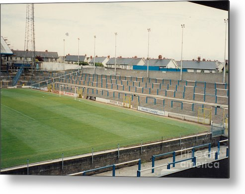 Cardiff City Metal Print featuring the photograph Cardiff - Ninian Park - South Stand Grange End 1 - August 1991 by Legendary Football Grounds
