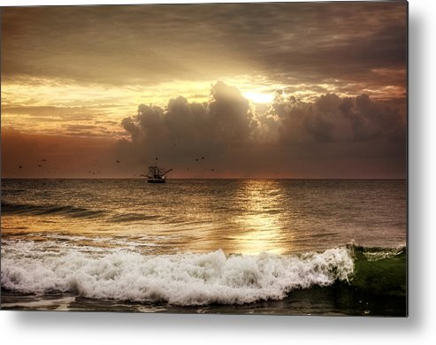 Beach Metal Print featuring the photograph Carolina Beach Shrimp Boat At Sunrise by Chrystal Mimbs