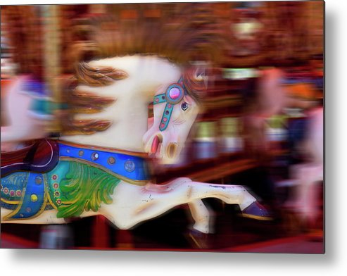 Carousel Metal Print featuring the photograph Carousel Horse In Motion by Garry Gay