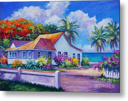 Artwork Metal Print featuring the painting Cayman Home by John Clark