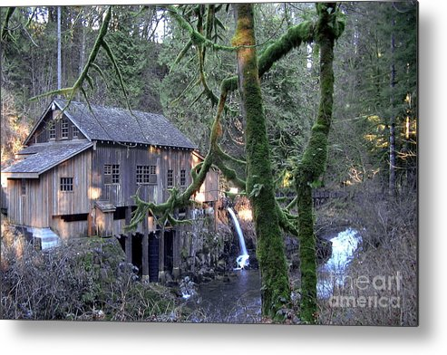 Landscape Metal Print featuring the photograph Cedar Creek Grist Mill by Larry Keahey