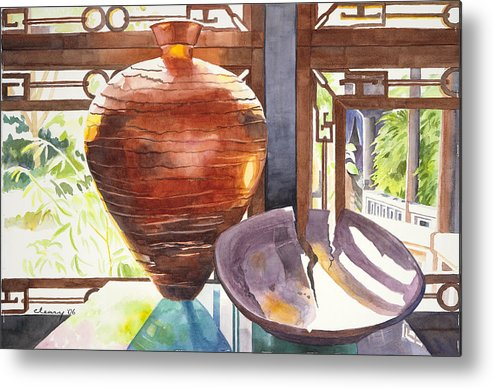 Still Life Metal Print featuring the painting Celestial Hall Pottery I by Melody Cleary