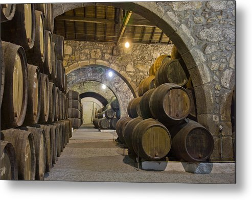 Wine Metal Print featuring the photograph Cellar With Wine Barrels by Anastasy Yarmolovich
