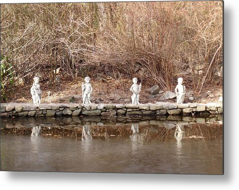 Photograph Metal Print featuring the photograph Cerubs On Icy Pond by Susan Grissom