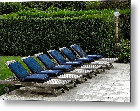 Chair Metal Print featuring the digital art Chairs Of The Deck by Lin Grosvenor