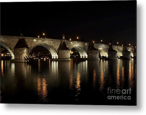 Bridge Metal Print featuring the photograph Charles Bridge At Night by Michal Boubin