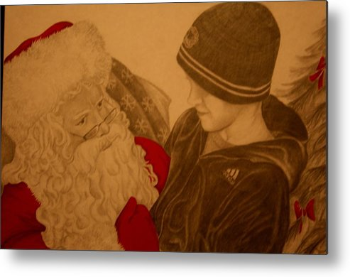 Sants Metal Print featuring the drawing Chatting With Santa by Melissa Wiater Chaney