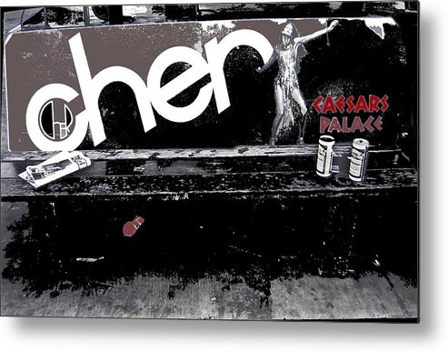 Cher Caesar's Palace Ad Bench Las Vegas Nevada 1979 Metal Print featuring the photograph Cher Caesar's Palace Ad Bench Las Vegas Nevada 1979-2014 by David Lee Guss