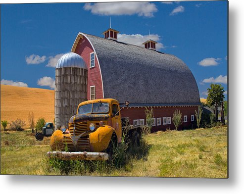 Truck Metal Print featuring the photograph Chevy By The Red Barn by Emil Davidzuk