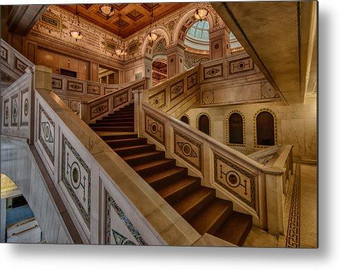 Chicago Cultural Center Metal Print featuring the photograph Chicago Cultural Center Stairs by Mike Burgquist