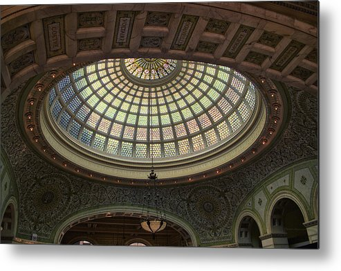 Chicago Cultural Center Metal Print featuring the photograph Chicago Cultural Center Tiffany Dome 01 by Thomas Woolworth