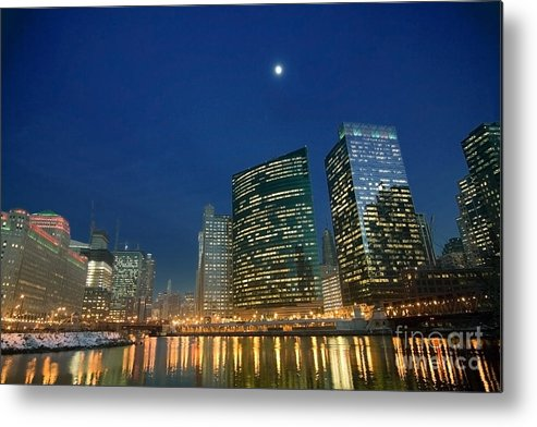 Chicago Skyline Metal Print featuring the photograph Chicago River With Skyline And Moon by Sven Brogren