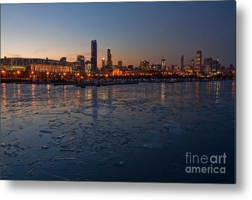 Chicago Metal Print featuring the photograph Chicago Skyline At Dusk by Sven Brogren