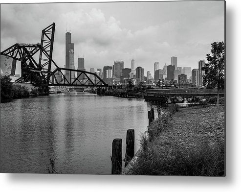 Chicago Metal Print featuring the photograph Chicago Skyline From The Southside In Black And White by Anthony Doudt