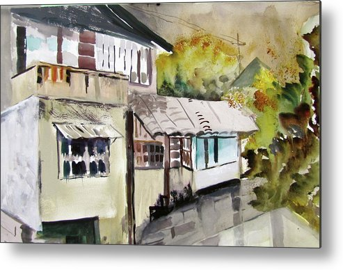 Watercolor Metal Print featuring the painting China Buildings by Carole Johnson