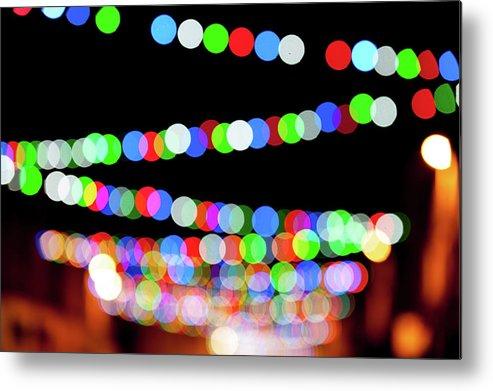 Helen Northcott Metal Print featuring the photograph Christmas Lights Bokeh Blur by Helen Northcott