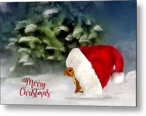 Squirrel Metal Print featuring the digital art Christmas Squirrel Greeting Card by Mary Timman
