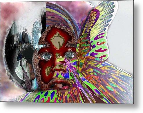 Portrait Metal Print featuring the mixed media Chrysalis by LeeAnn Alexander