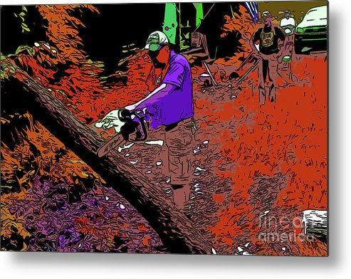 Metal Print featuring the digital art Chuck Chainsaw 2 by Chris Taggart