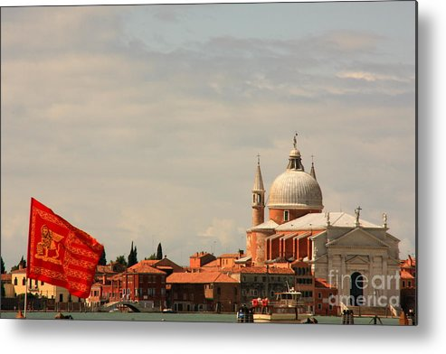 Venice Metal Print featuring the photograph Church Of The Redentore In Venice With Flag Of Venice by Michael Henderson