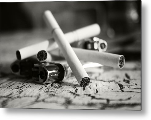Cigarette Metal Print featuring the photograph Cigarette And Lighters by Adam LeCroy