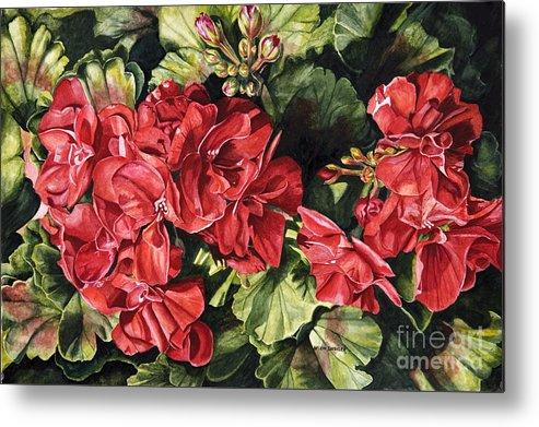 Geranium Metal Print featuring the painting City Flowers Red Geranium by Helen Shideler