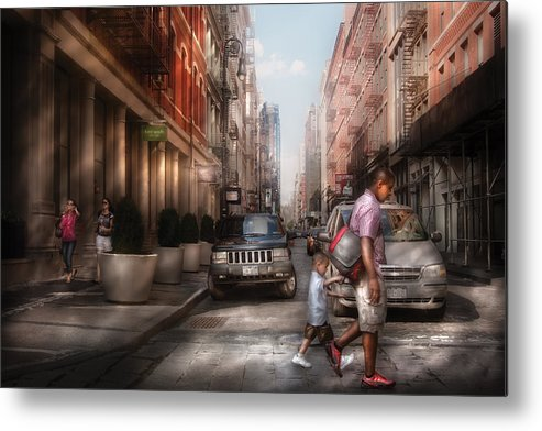 Savad Metal Print featuring the photograph City - Ny - Walking Down Mercer Street by Mike Savad