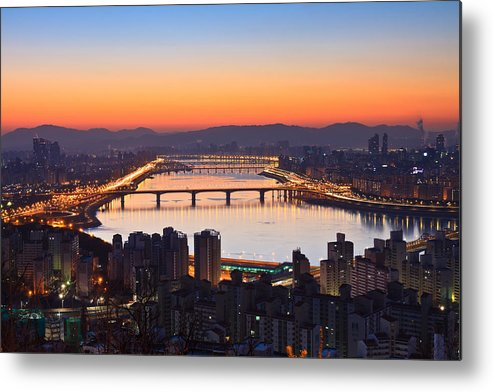 Horizontal Metal Print featuring the photograph Cityscape With River Before Sunrise by SJ. Kim
