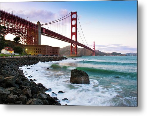 Horizontal Metal Print featuring the photograph Classic Golden Gate Bridge by Photo by Alex Zyuzikov