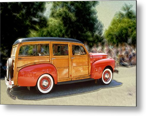 Classic Automobile Metal Print featuring the photograph Classic Woody Station Wagon by Roger Soule