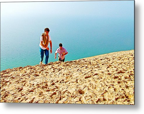 Climbing Up The Dune From Lake Michigan In Sleeping Bear Dunes National Lakeshore Metal Print featuring the photograph Climbing Up The Dune From Lake Michigan In Sleeping Bear Dunes National Lakeshore-michigan by Ruth Hager