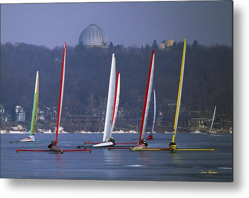 Iceboat Metal Print featuring the photograph Close Encounters - Lake Geneva Wisconsin by Bruce Thompson