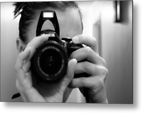 Black And White Metal Print featuring the photograph Close Up by Christina McNee-Geiger