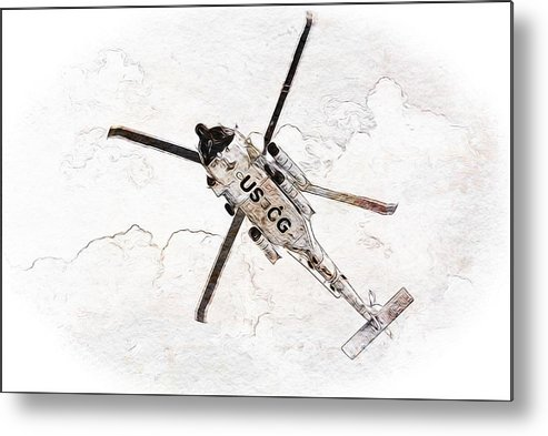 Coast Guard Metal Print featuring the photograph Coast Guard Helicopter by Aaron Berg
