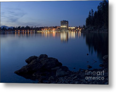 Skyline Metal Print featuring the photograph Coeur D Alene Skyline Night by Idaho Scenic Images Linda Lantzy