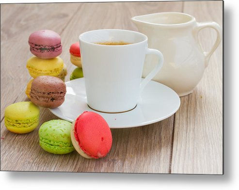 Coffee Metal Print featuring the photograph Coffee And Macaroons by Anastasy Yarmolovich