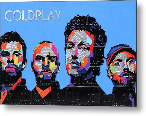 Coldplay Metal Print featuring the mixed media Coldplay Band Portrait Recycled License Plates Art On Blue Wood by Design Turnpike