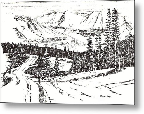Colorado Mountains Snow Ink Drawing Metal Print featuring the drawing Colorado Mountain Foothills by Donn Kay