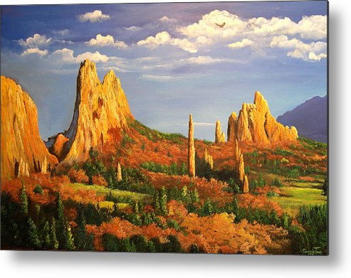 Connie Tom Metal Print featuring the painting Colorado Red Rocks by Connie Tom