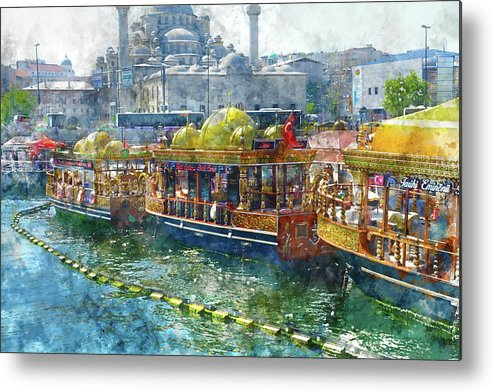 Market Metal Print featuring the photograph Colorful Boats In Istanbul Turkey by Brandon Bourdages