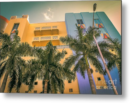 Florida Metal Print featuring the photograph Colorful Building And Palm Trees by Claudia M Photography