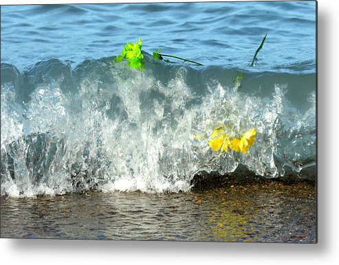 Flowers Metal Print featuring the photograph Colorful Flowers Crashing Inside A Wave Against The Shoreline by Reva Steenbergen